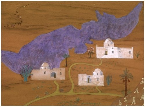 Hassan Fathy: Gouache privater Farmhäuser am Qarun-See, 1940 - 1945, (c) Aga Khan Trust for Culture